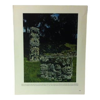 """Circa 1960 """"Stela D and Altar in the Great Plaza at Copan Honduras"""" Treasures of Ancient America Mounted Print For Sale"""