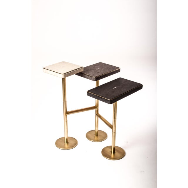 Shell Rotating 5-Top Coffee Table in Shagreen & Bronze-Patina Brass by Kifu Paris For Sale - Image 7 of 8