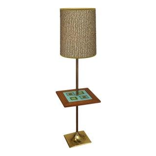 Mid Century Modern Brass, Walnut and Art Tile Floor Lamp Table For Sale