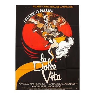 "Vintage French ""La Dolce Vita"" Federico Fellini Film Poster For Sale"