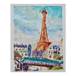 """Eiffel Tower"" Contemporary French Cityscape Monoprint by Humbert Curcuru For Sale"