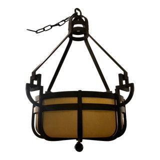 Paul Ferrante Pounded Wrought Iron Chandelier For Sale