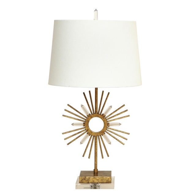 Gilt Metal Sunburst Lamps For Sale - Image 10 of 10
