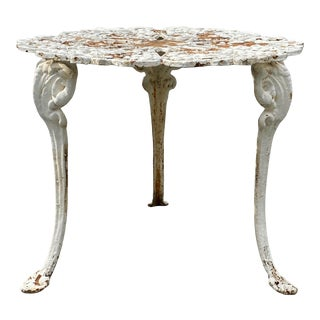 Antique Cast Iron Three-Legged Garden Table With Grape Motif For Sale