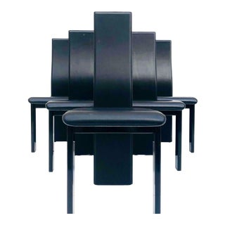 Late 20th Century Vintage Italian Modernist Black Leather Dining Chairs- Set of 8 For Sale