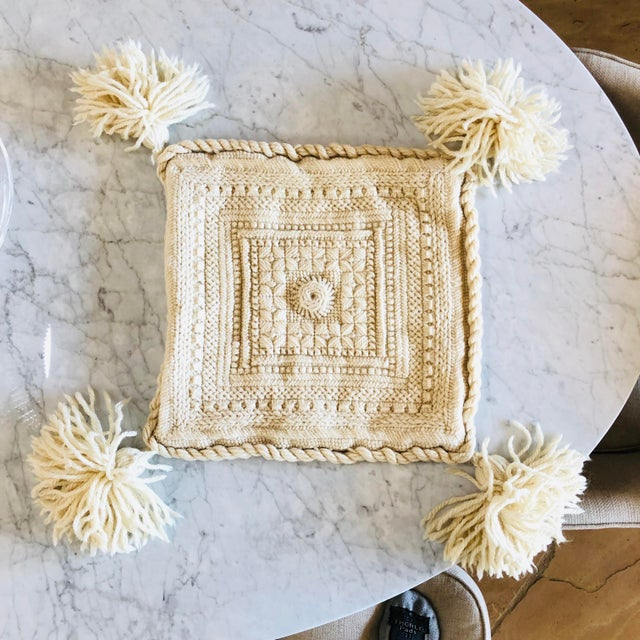 Handmade pillow sham with tassels!! Made from wool. Beautiful!!!!