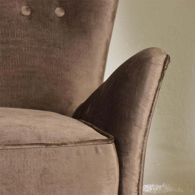 Mid Century Modern Pair of Arm Chairs by Gio Ponti for Bristol Hotel in Merano Italy For Sale - Image 10 of 12