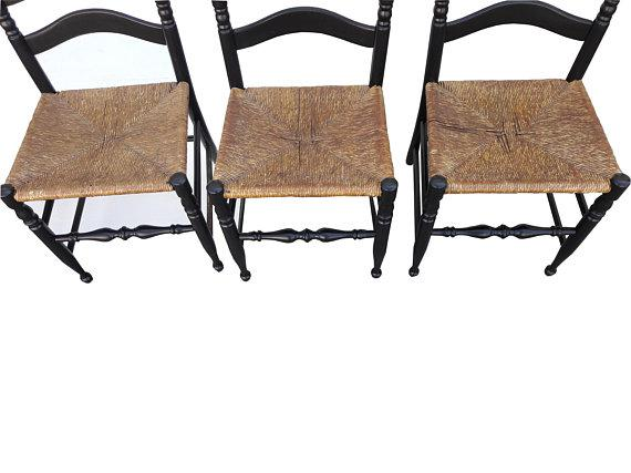 Vintage Farmhouse Colonial American Rush Seat Ladder Back Chairs   Set Of 6    Image 4
