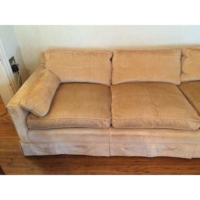 1960s 1960s Mid-Century Modern Hog and Horse Mane Hair Sofa Couch With Down Cushions With Floral Slipcover For Sale - Image 5 of 11