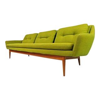 1960s Danish Modern Lk Hielle Mobelfabikk Green Tweed Gondola Sofa