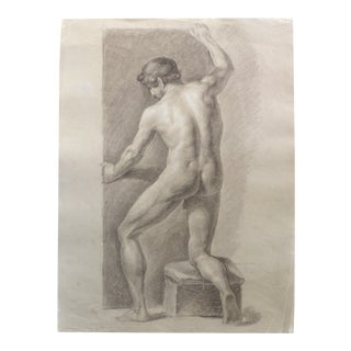 Late 18th Century Graphite and Pastel Drawing of a Male Nude Artist Study For Sale
