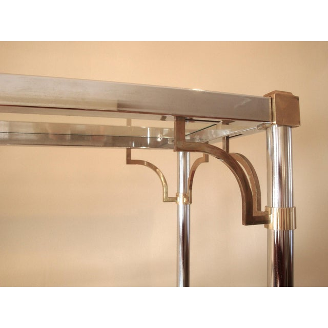 Mid 20th Century Mid-Century Chinoiserie Chrome, Brass & Glass Etagere Shelf For Sale - Image 5 of 7