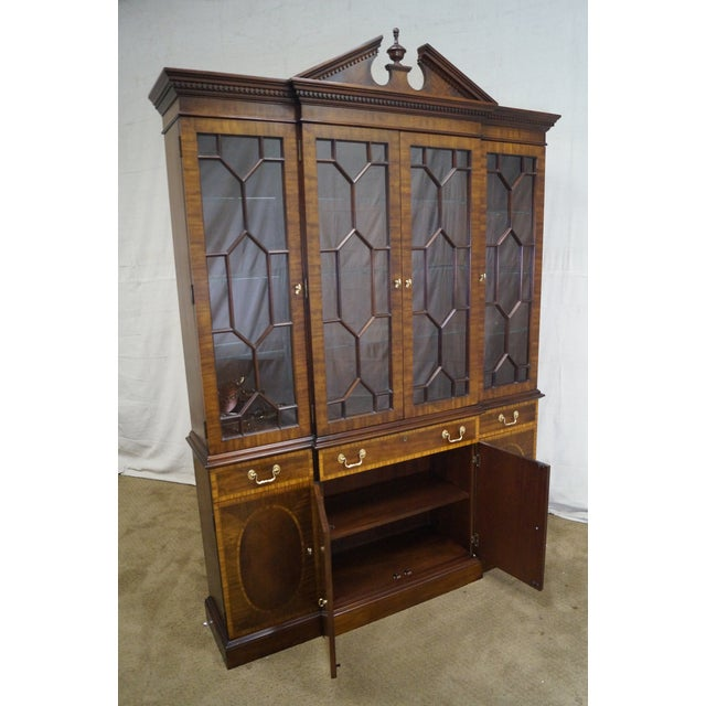 Councill Craftsman Inlaid Flame Mahogany Breakfront Bookcase For Sale In Philadelphia - Image 6 of 10