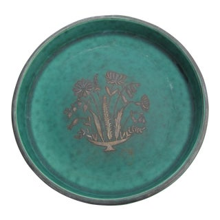 Vintage Mid Century Gustavsberg Turquoise Tray For Sale