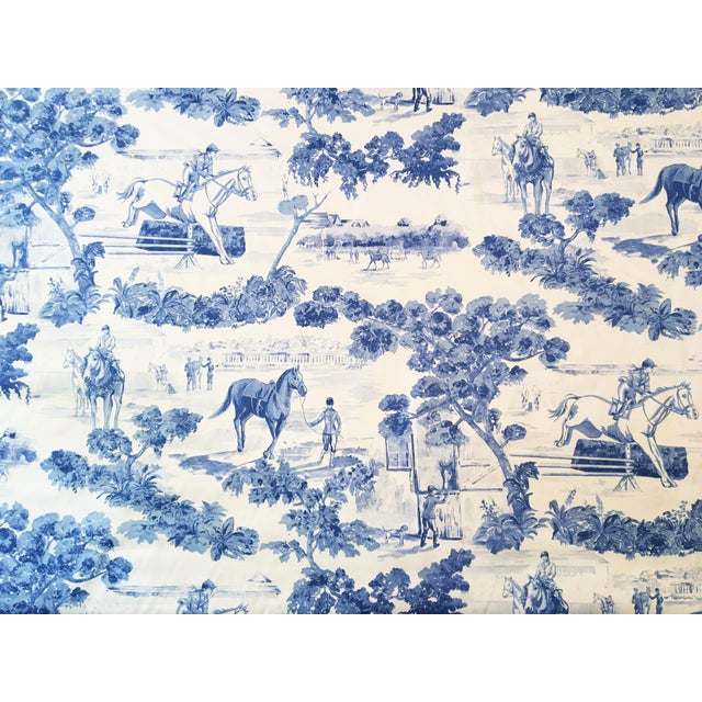 "10 Yds. Rare Ralph Lauren ""And They\'re Off"" Equestrian Toile Blue ..."