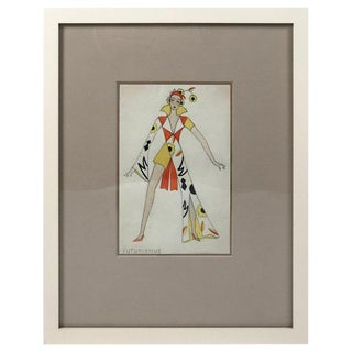 1920s Swiss Fashion Drawing of Woman in Futurist Clothing For Sale