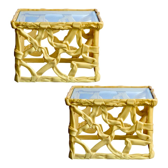 Mid-Century Acrylic Ribbon End Tables, A-Pair For Sale