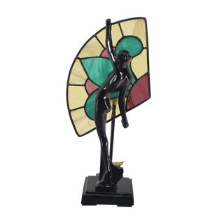 Art Deco Nouveau Style Nude Stained Glass Table Lamp For Sale