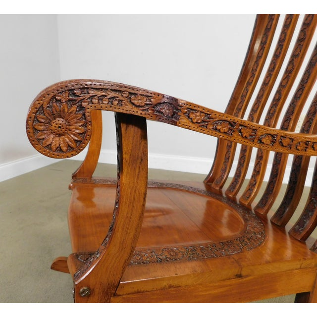 Metal Vintage Indian Carved Hardwood Brass Inlaid Rocker For Sale - Image 7 of 13