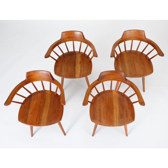American Single Black Walnut Captain's Chair by George Nakashima Studio For Sale - Image 3 of 13