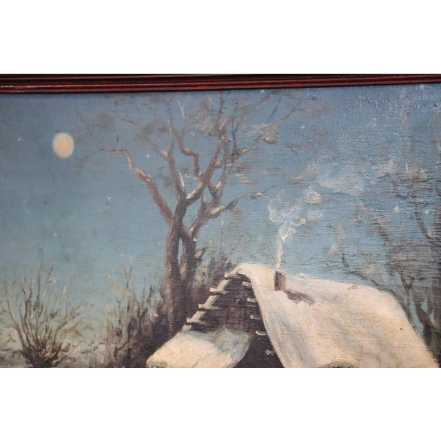 Canvas 20th Century Italian Oil Painting on Canvas Winter Landscape For Sale - Image 7 of 10
