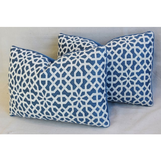 "Blue Clarence House Fabric & Scalamandre Mohair Velvet Feather/Down Pillows 22"" X 16"" - Pair For Sale - Image 8 of 13"