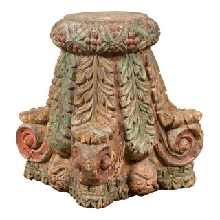 Indian Antique Temple Foliage Carved Capital with Original Green and Red Paint For Sale