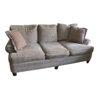 Contemporary Bernhardt Patterned Tan Sofa With Matching Throw Pillows For Sale