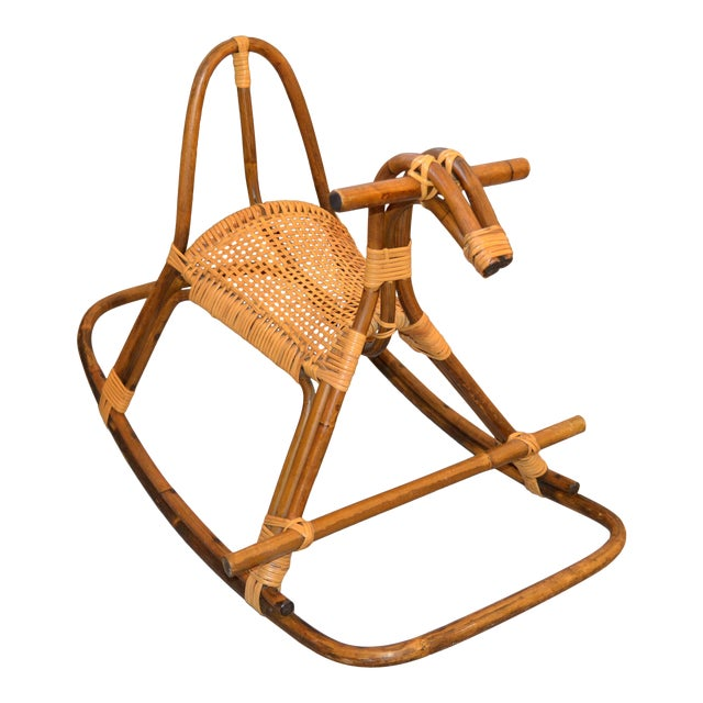 1960s Rattan and Bamboo Rocking Horse Sculpture Inspired by Franco Albini For Sale