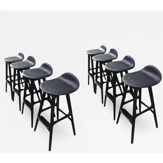 Erik Buch Erik Buck Rare Set of 8 Bar Stools For Sale - Image 4 of 4