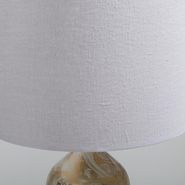 A Pair of Fornasetti Style Eglomise Glass Table Lamps 1970s For Sale - Image 4 of 4