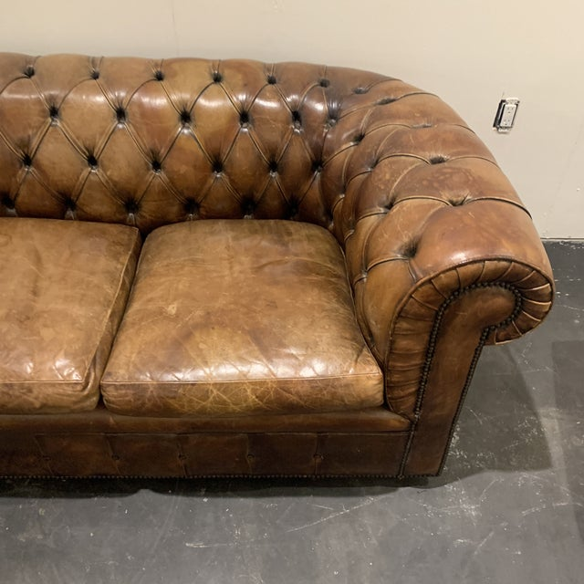 1980s Brown Leather Chesterfield Sofa For Sale In Houston - Image 6 of 13