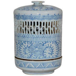 Early 1900s Blue and White Asian Pierced Ceramic Incense Burner For Sale