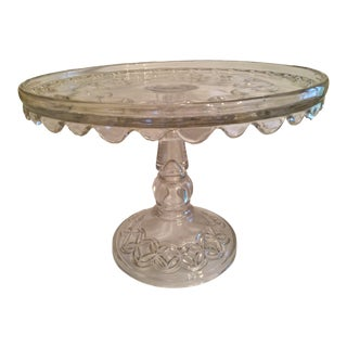 Vintage Early American Pressed Pedestal Glass Cake Stand For Sale