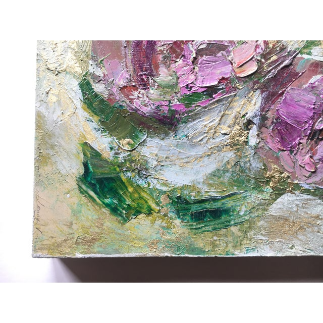 Abstract Abstract Metallic Gold Floral Oil Painting by Jenny Vorwaller For Sale - Image 3 of 5