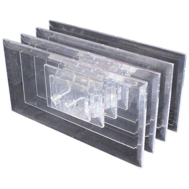 Large Rectangular Glass Top Thick Stack Lucite Blades Base Coffee Table For Sale In New York - Image 6 of 12