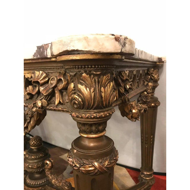French French Louis XVI Style 19th Century Giltwood Marble-Top Centre Table For Sale - Image 3 of 13