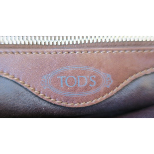 Tod's Brown Leather, Mink and Brass Handbag For Sale - Image 9 of 13