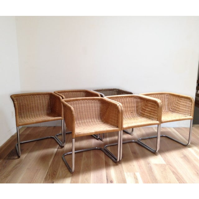 Harvey Probber Wicker & Chrome Chairs- Set of 6 - Image 2 of 7