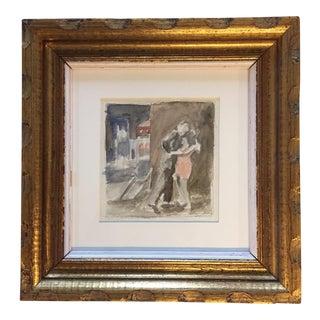 """Original Vintage Watercolor Painting """"Embrace"""""""
