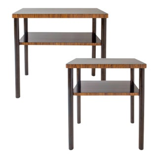 Complementary Swedish Early Modernist Zebrawood and Birch Side Tables- A Pair For Sale