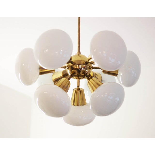 Mid-Century Sputnik Frosted Glass Chandelier, 1960s For Sale - Image 6 of 10
