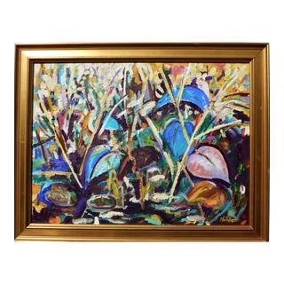 """Impressionist """"Lillies in the Pond""""oil Painting by Martha Holden For Sale"""