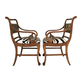 Vintage Carved Zebra Armchairs - Pair