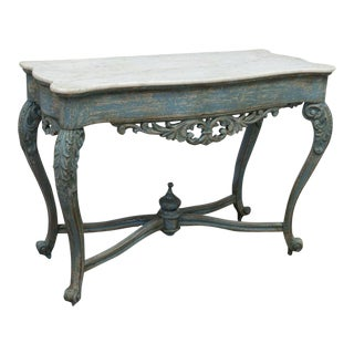 19th Century Shabby Chic European Distressed Painted Table For Sale