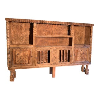 1950s Spanish Colonial Carved Cabinet Buffet For Sale
