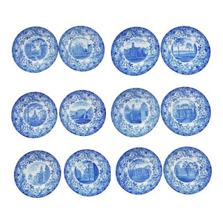 Wedgwood Pottery Set of Twelve Plates with Harvard Scenes, 1927.