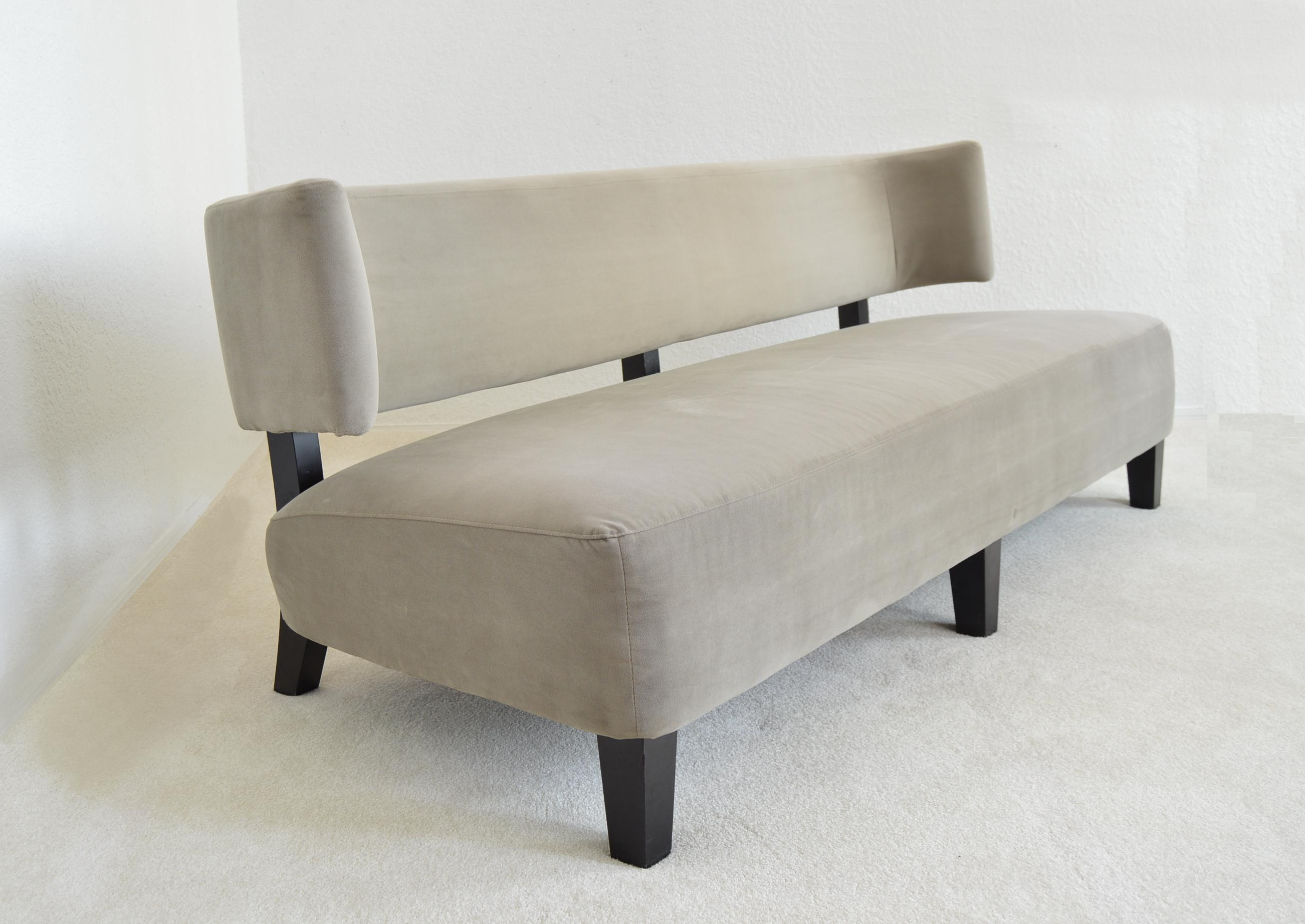 Vintage Contemporary Mid Century Organic Modern Style Upholstered Sage Gray  Sofa With Wood Legs Millennial MCM