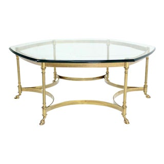 Italian Modern Coffee Table with Hoof Feet Brass Base and Hexagonal Glass Top For Sale