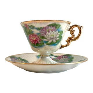 Vintage Ucagco Ceramics July Waterlily Lusterware Footed Tea Cup and Saucer For Sale